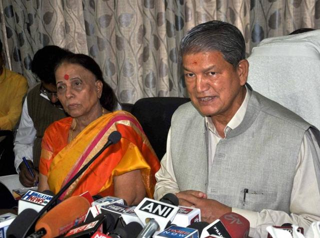 Chief minister Harish Rawat addresses a press conference in Dehradun on Saturday.