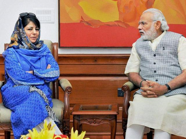 Prime Minister Narendra Modi with PDP leader Mehbooba Mufti during a meeting in New Delhi..
