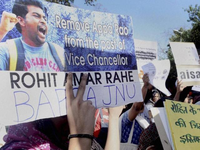 AISA students holding a demonstration demanding justice for the Dalit scholar Rohith Vemula outside Shastri Bhavan in New Delhi on Wednesday.