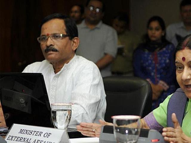 In this file photo, external affairs minister Sushma Swaraj and junior AYUSHminister Shripad Naik address the media.