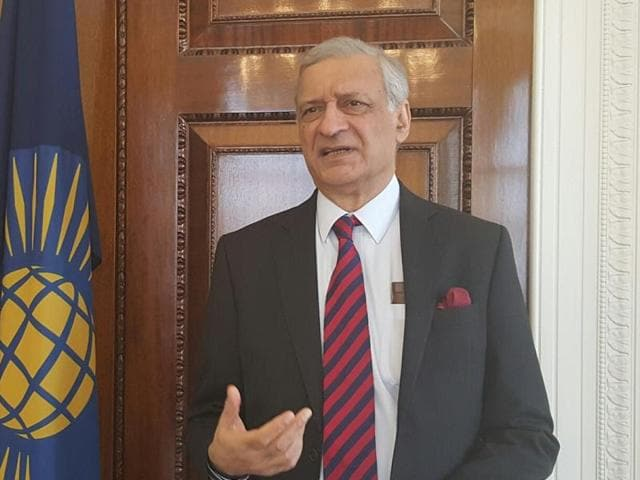 Kamalesh Sharma, who steps down as Commonwealth secretary-general next week, at the Commonwealth Secretariat, Marlborough House in London.