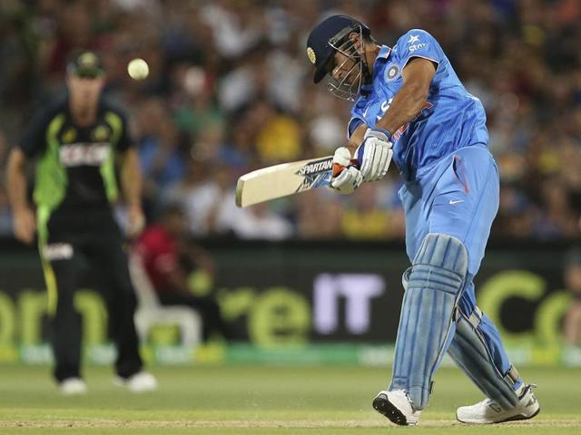 MS Dhoni hits a six during their T20 International cricket match against Australia in Adelaide, Australia.