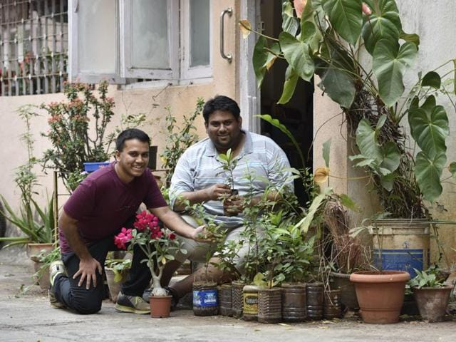 Calvin Andrade (left) and George Remedios at their residential complex in Khar. Vidya Subramanian/HT