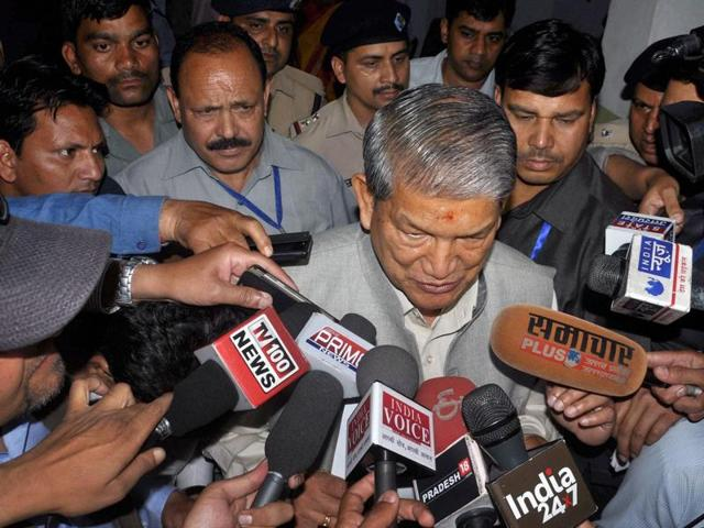 Uttarakhand chief minister Harish Rawat addresses the media outside the assembly in Dehradun on Saturday.
