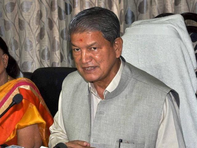Uttarakhand chief minister Harish Rawat addresses a press conference in Dehradun.