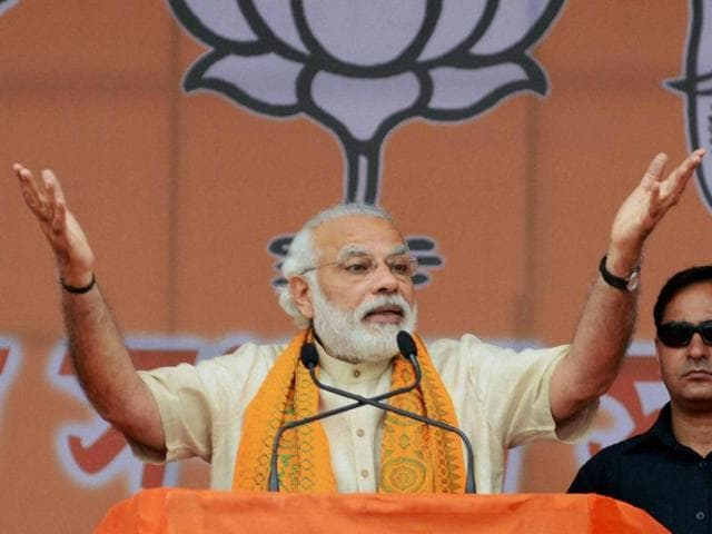 Prime Minister Narendra Modi addressing an election rally in Sonitpur district of Assam on Sunday.