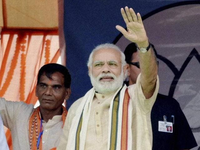 Prime Minister Narendra Modi on Sunday addressing a public gathering at an election campaign for the upcoming Assembly polls.