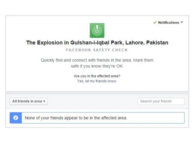 Facebook safety check,Lahore Blast,Malfunction