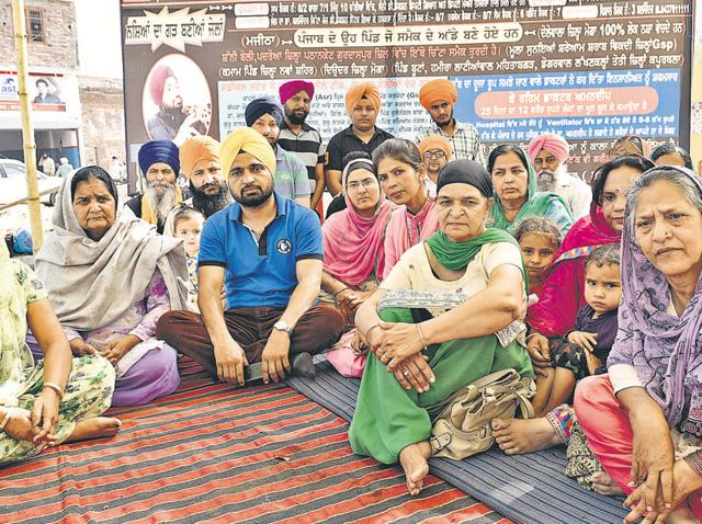 Members of a Batala club on a hunger strike outside Bularia Park in Amritsar on Sunday.