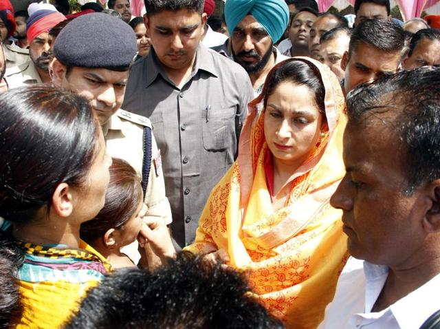 Union minister of food processing industries Harsimrat Kaur Badal (left) after unveiling the foundation stone of 'one-stop crisis centre' for women in Bathinda on Sunday.