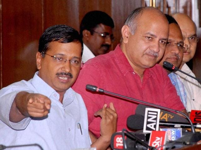 Delhi chief minister Arvind Kejriwal with finance minister Manish Sisodia address a press conference in New Delhi on Monday.