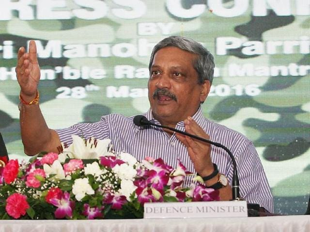 Defence minister Manohar Parrikar addresses the media after the inauguration of the 9th edition of Defexpo-16 in Goa on Monday.