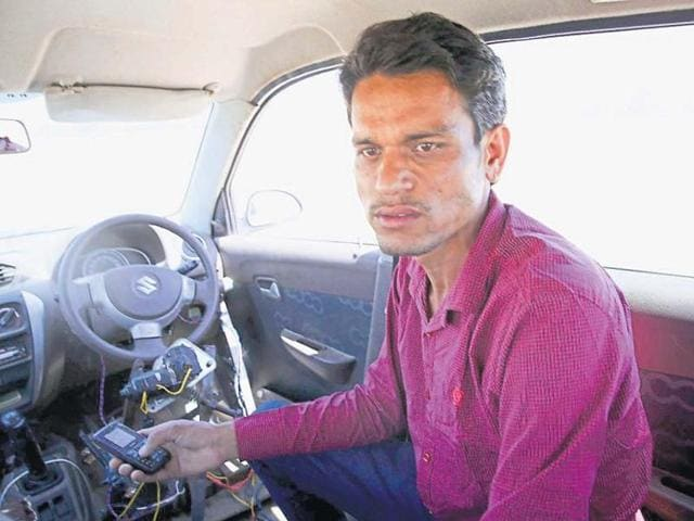 Govind Gehlot Tests A Driverless Car Created By Him, In Pokhran, Rajasthan.