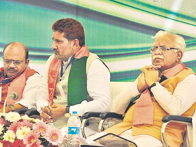 BJP Haryana in-charge Anil Jain, state party chief Subhash Barala and chief minister Manohar Lal Khattar during the meeting of party's state executive in Panchkula on Sunday.