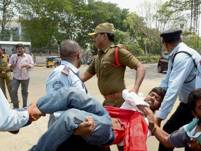 Police arrested students who were protesting against  the HCU vice-chancellor Appa Rao's return to the campus.