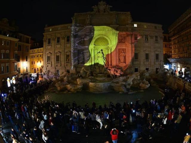 A Belgian flag is displayed on the Trevi Fountain in Rome on March 22, following triple bomb attacks in Brussels.
