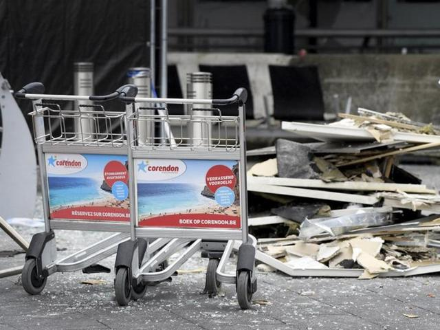 Wreckage is seen outside the terminal at Brussels International airport following bomb attacks in Brussels metro and the Zaventem airport, Belgium.