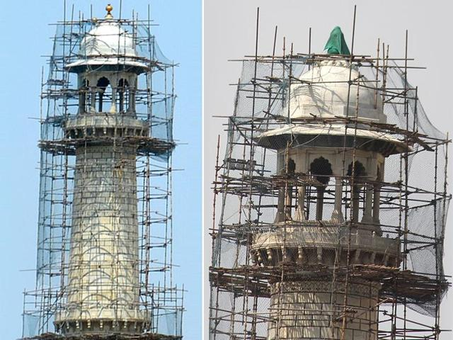 Three of the minarets of the Taj Mahal are being chemically cleaned and a mesh structure being put up around it. During this work, the pinnacle was found on the cleaning platform.