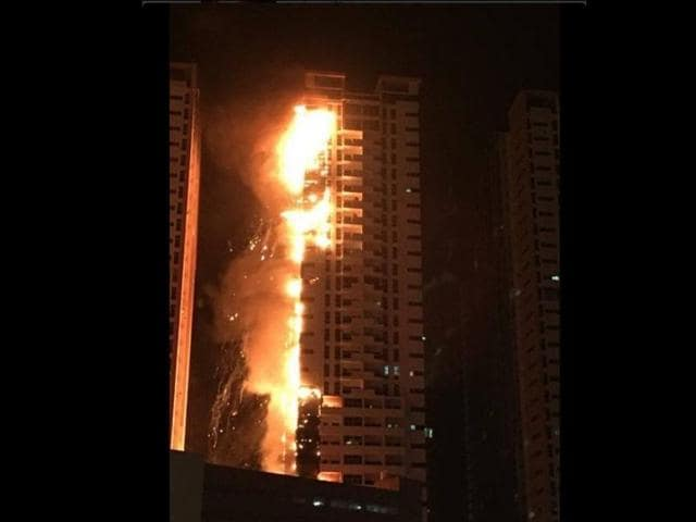 The Ajman Building of Ajman, UAE which was engulfed in fire on Monday night.