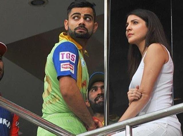File photo of Virat Kohli and Anushka Sharma during a cricket match in Bengaluru. (HT Photo)