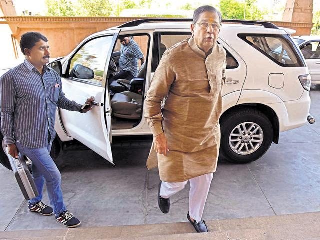BJP MLA Ghanshyam Tiwari on way to the state assembly in Jaipur on Monday.