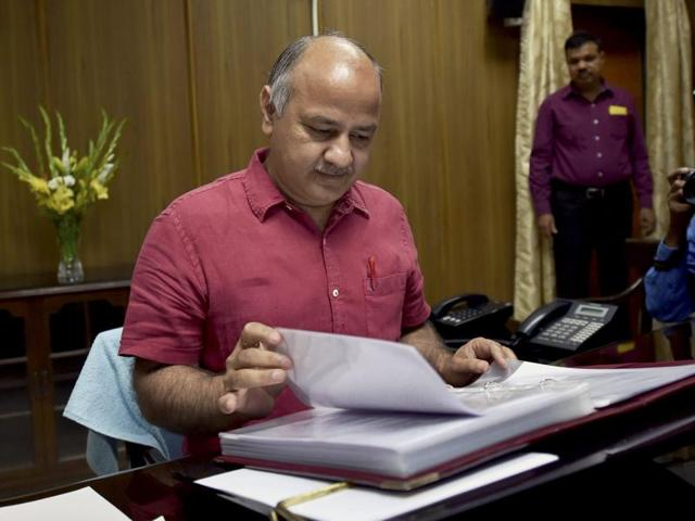 Delhi finance minister Manish Sisodia at an interaction with the media before presenting the budget in assembly, in New Delhi.
