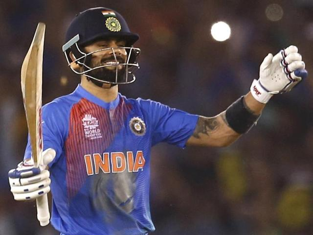 Indian batsman Virat Kohli plays a shot during the ICC World T20 match against Australia.(PTI Photo)