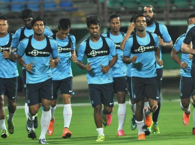 Indian football team practicing ahead of World Cup Qualifier match against Turkmenistan.