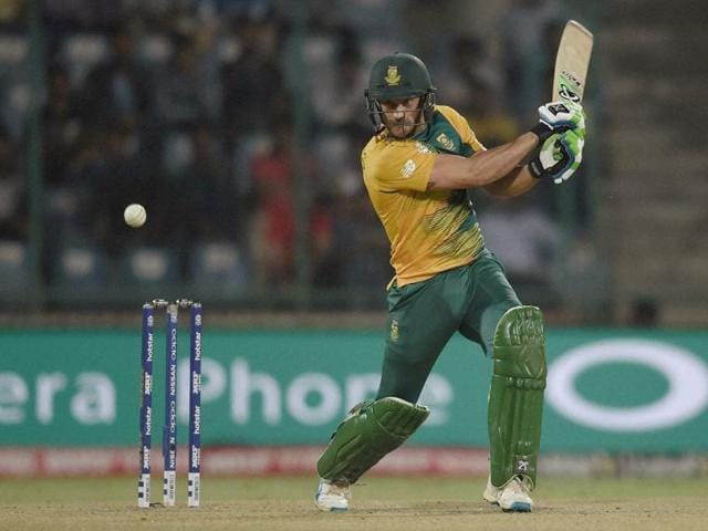 South Africa batsman Faf Du Plessis plays a shot against Sri Lanka.