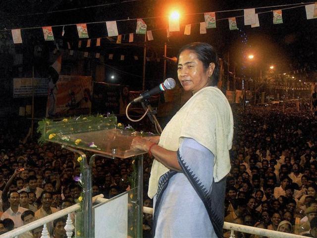 Trinamool chief Mamata Banerjee addresses a rally in Kolkata.