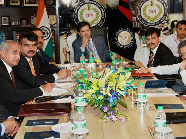 Members of the Pakistan's Joint Investigation Team formed to probe into the Pathankot airbase attack, in a meeting with officials at the National Investigation Agency headquarters in New Delhi on Monday.