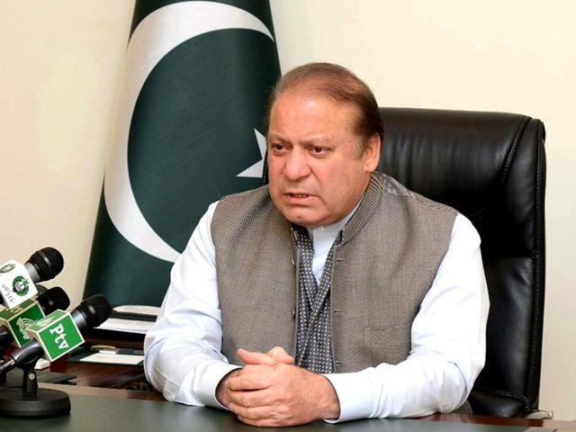 An handout picture released by the Pakistan Press Information Department (PID) on March 28, 2016, shows Pakistan's Prime Minister Nawaz Sharif addressing the nation at his office in Islamabad.