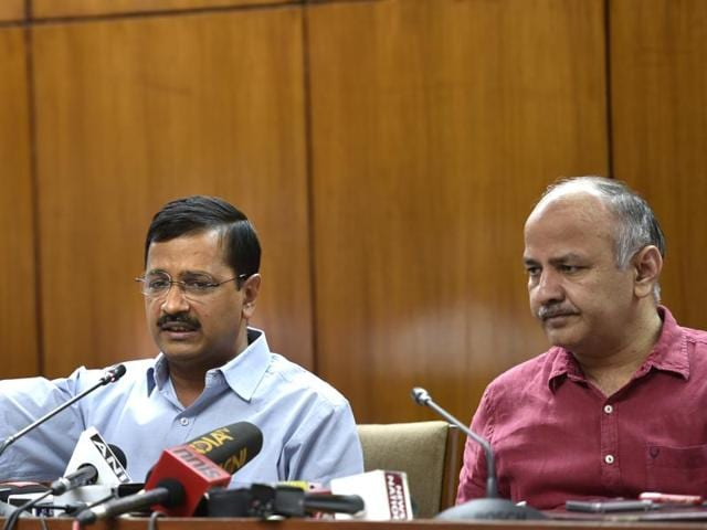 Chief minister Arvind Kejriwal and his deputy address the media after the budget.