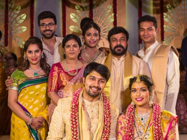 Kalyan and Sreeja pose with Ram Charan Teja, his wife Upasana and Chiranjeevi.