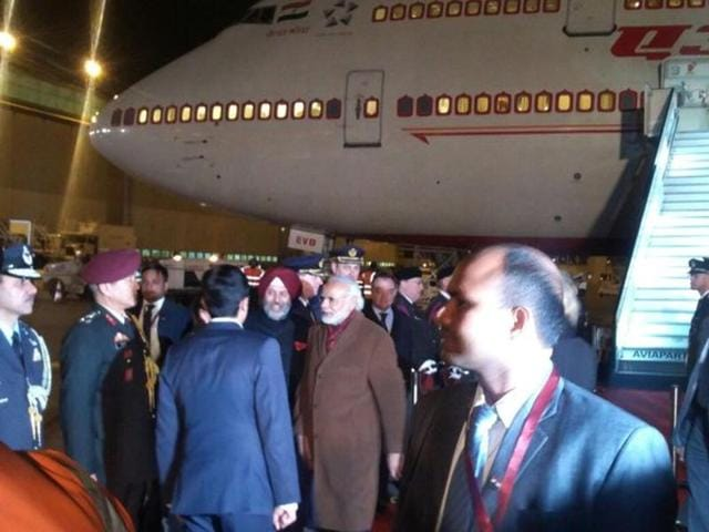 A photo tweeted by MEA spokesperson Vikas Swarup show PM Narendra Modi at Brussels airport.