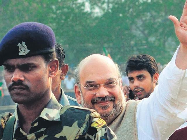 BJP president Amit Shah arrives in Nayagram in West Midnapore on Tuesday to address an election rally.