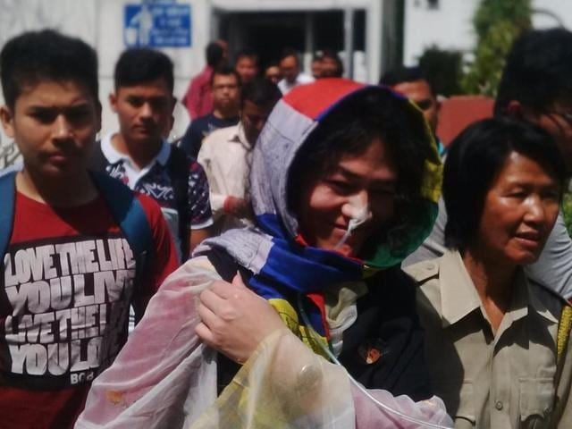 Irom Sharmila coming out of Delhi's Patiala House court on Wednesday.
