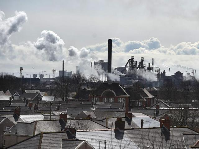 A picture shows the Tata Steel steel plant at Port Talbot, south Wales on March 30, 2016.