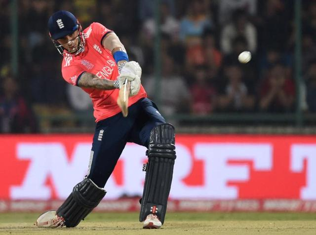 England's Alex Hales plays a shot during the first World T20 cricket tournament semi-final match.