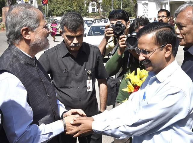 Delhi chief minister Arvind Kejriwal with LGNajeeb Jung during the assembly Budget session in New Delhi.