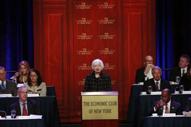 U.S. Federal Reserve chair Janet Yellen speaks to the Economic Club of New York in New York March 29, 2016.