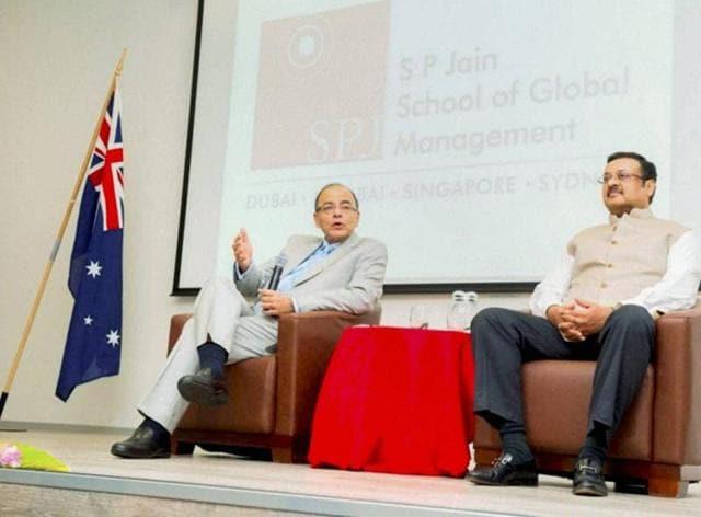 Sydney: Union Finance Minister Arun Jaitley speaks at S P Jain School of Global Management in Sydney, Australia.