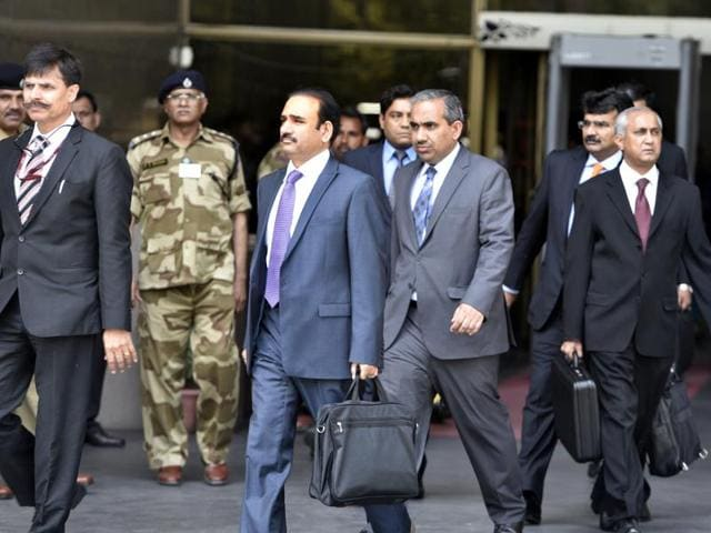 Members of the Pakistan's Joint Investigation Team formed to probe into the Pathankot airbase attack, seen coming out of National Investigation Agency (