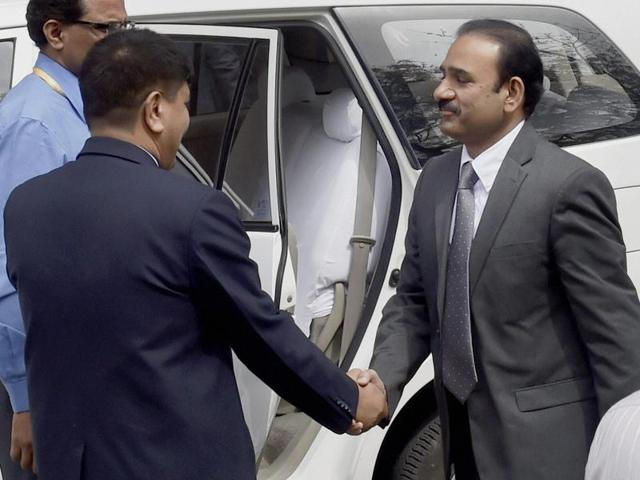 Members of the Pakistani joint investigation team arrive at the National Investigation Agency (NIA) headquarters in New Delhi on Wednesday.