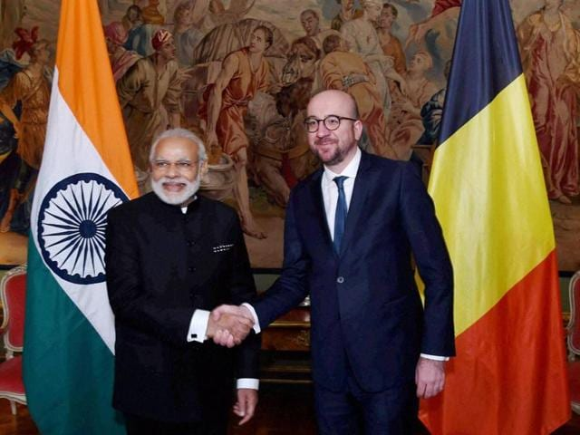 Prime Minister Narendra Modi with his Belgian counterpart Charles Michel at a meeting in Brussels on Wednesday.