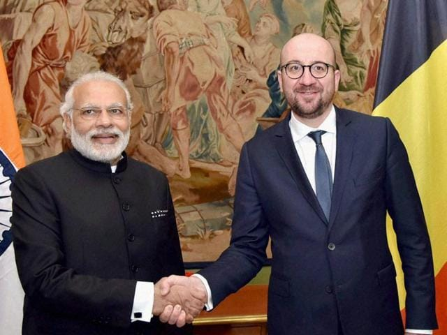 Prime Minister Narendra Modi with his Belgian counterpart Charles Michel at a meeting in Brussels.