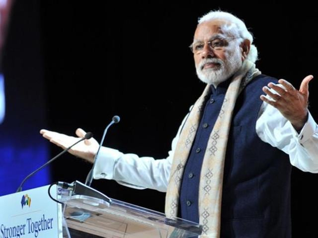 Prime Minister Narendra Modi addressing an Indian community event at Brussels, Belgium, on Wednesday, March 30, 2016.