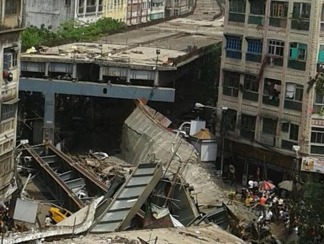 An under-construction flyover collapsed in one of Kolkata's busiest roads on Thursday afternoon, trapping several people under the debris.