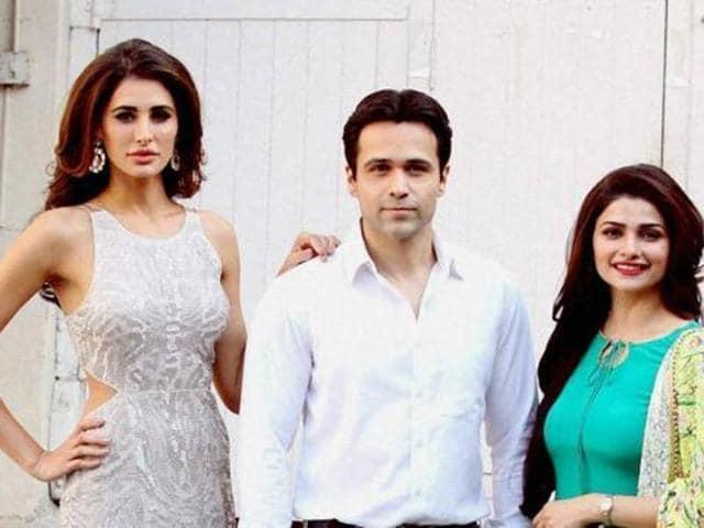 Nargis Fakhri, Emraan Hashmi and Prachi Desai during the poster photo shoot of film Azhar in Mumbai on Thursday. (PTI)