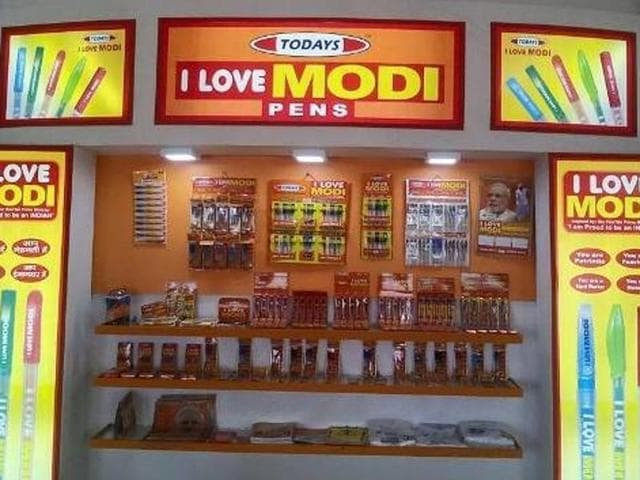 A store belonging to Today's, with 'I Love Modi' pens on display.